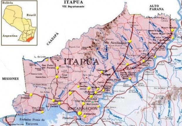 Mapa Departamento de Itapúa, Paraguay