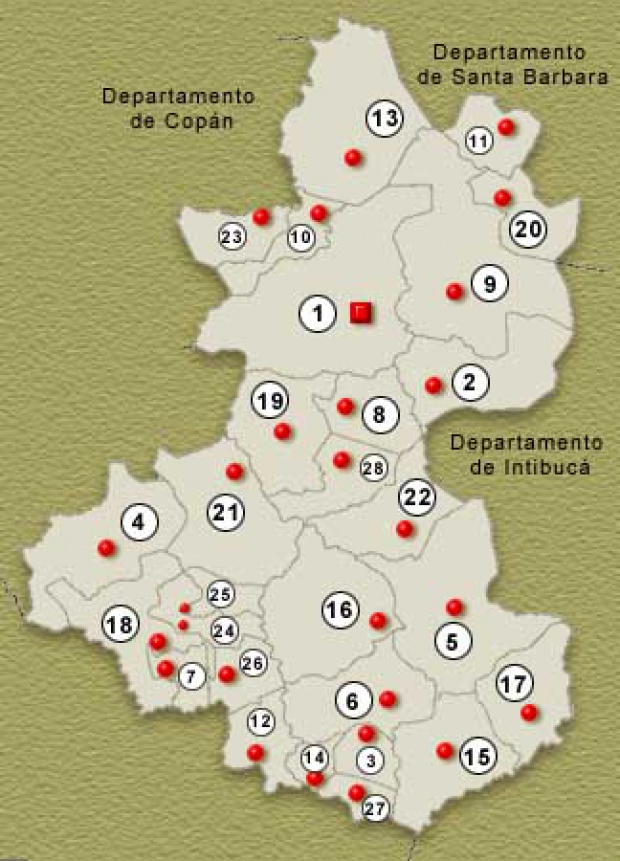 Mapa Departamento de Lempira, Honduras
