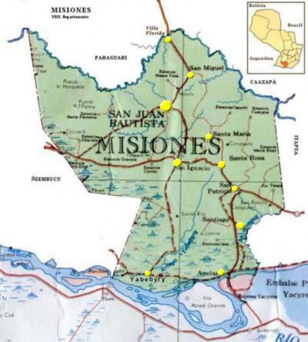 Mapa Departamento de Misiones, Paraguay
