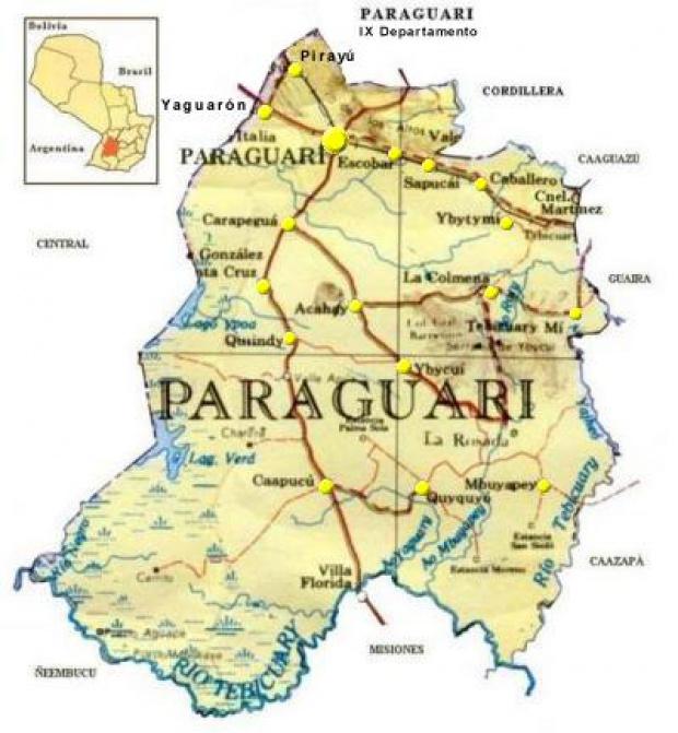Mapa Departamento de Paraguarí, Paraguay