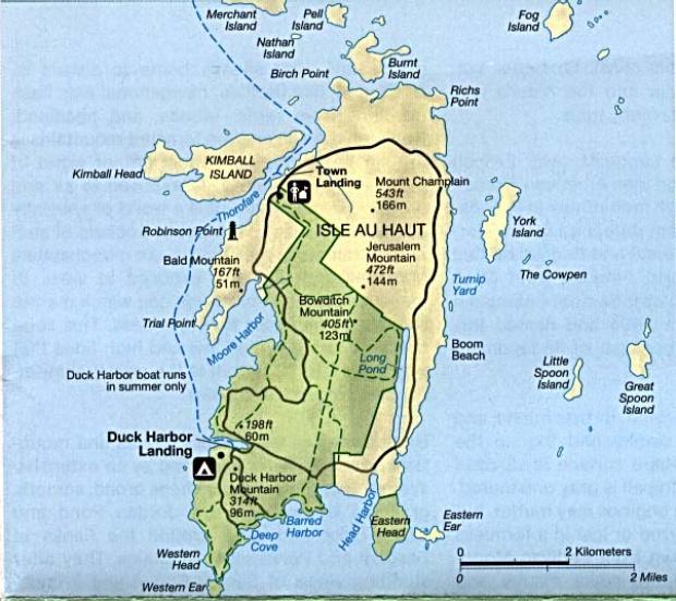 Mapa Detallado de Isle au Haut, Maine, Estados Unidos