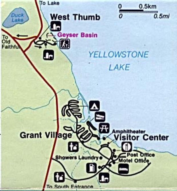 Mapa Detallado de West Thumb y Grant Village, Parque Nacional Yellowstone, Wyoming, Montana, Idaho, Estados Unidos