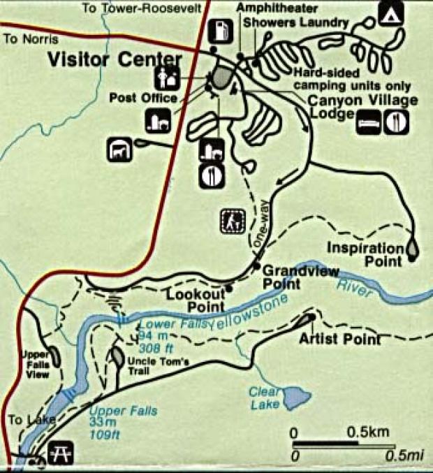 Mapa Detallado del Cañon Village, Parque Nacional Yellowstone, Wyoming, Montana, Idaho, Estados Unidos