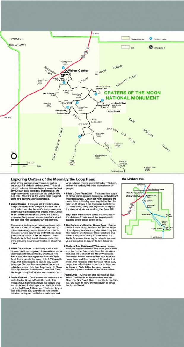 Mapa Detallado del Monumento Nacional Craters of the Moon, Idaho, Estados Unidos