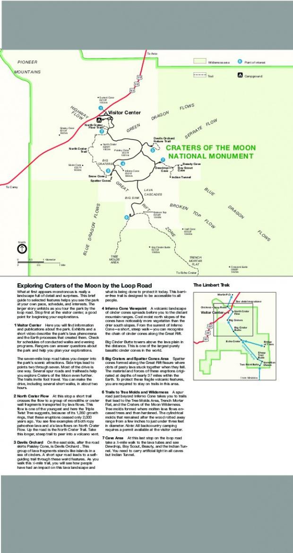 Mapa Detallado del Monumento Nacional Craters of the Moon, Idaho, Estados Unidos