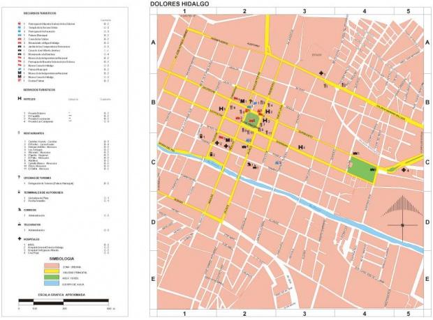 Mapa Dolores Hidalgo, Guanajuato, Mexico