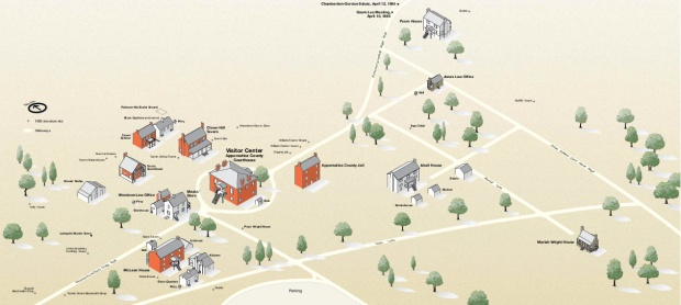Mapa-Esquema del Parque Nacional Histórico Appomattox Court House, Virginia, Estados Unidos