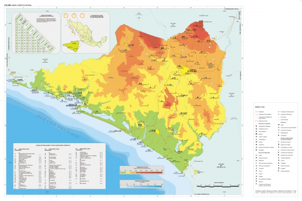Mapa Estado de Colima, Mexico