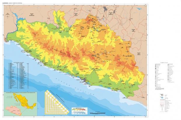 Mapa Estado de Guerrero, Mexico