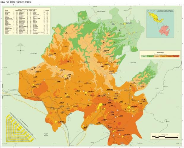 Mapa Estado de Hidalgo, Mexico