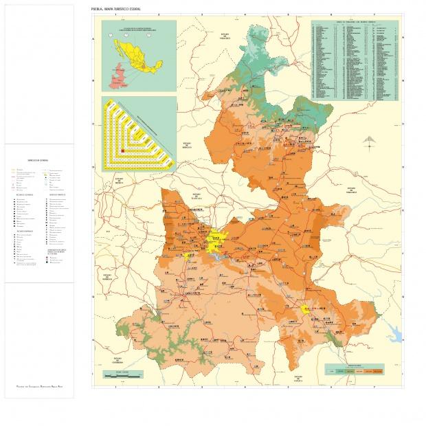 Mapa Estado de Puebla, Mexico