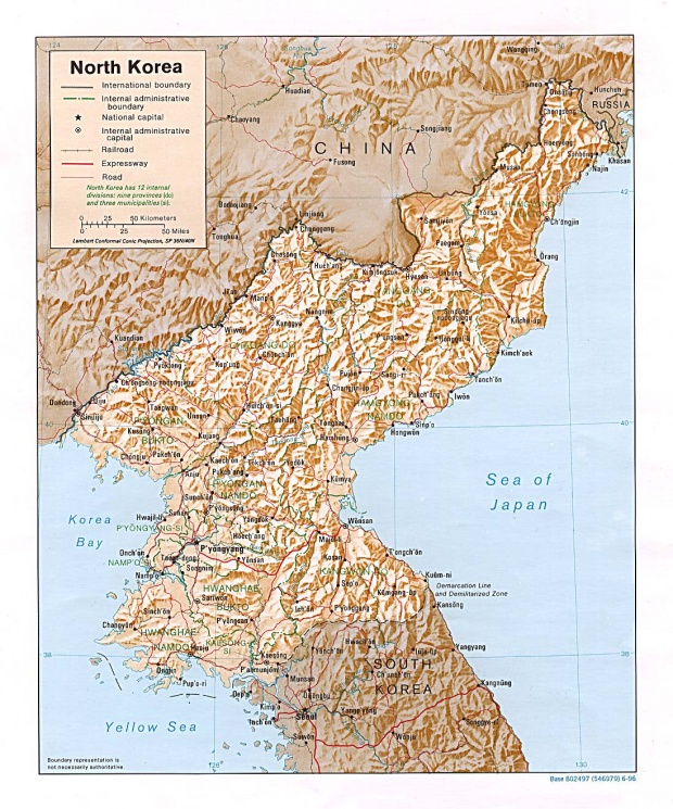 Mapa Físico de Corea del Norte
