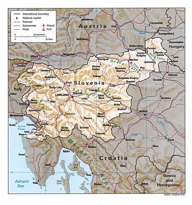 Mapa Físico de Eslovenia