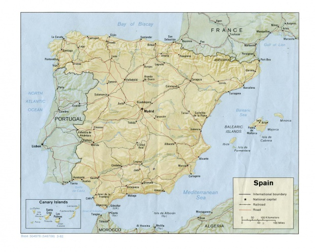 Spain physical map 1982