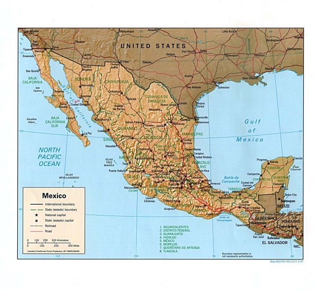 Mexico Shaded Relief Map