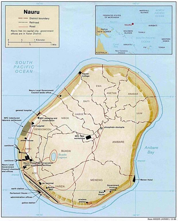 Mapa Físico de Nauru