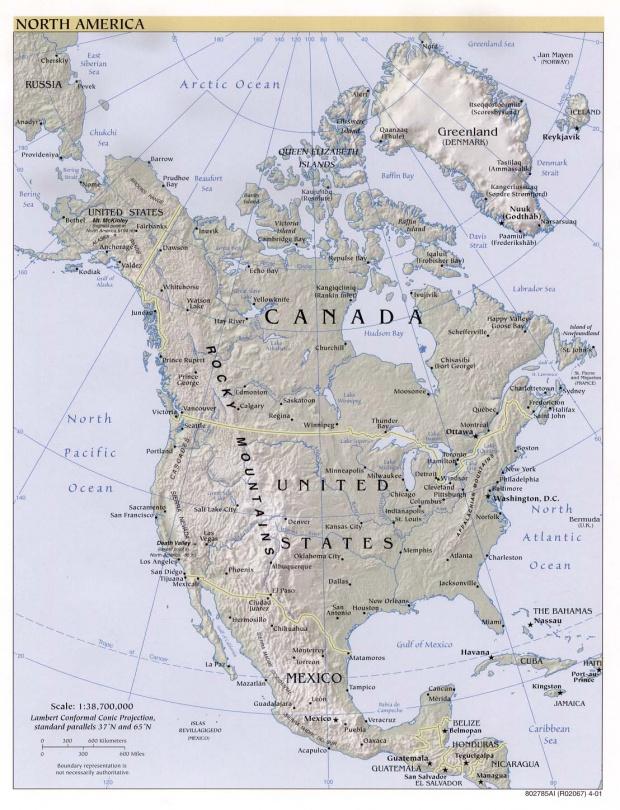 Mapa Físico de Norteamérica 2001