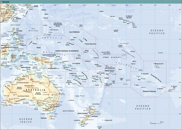 Oceania physical map