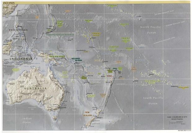 Mapa Físico de Oceanía 2001