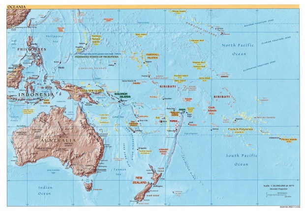 Oceania physical map 2002