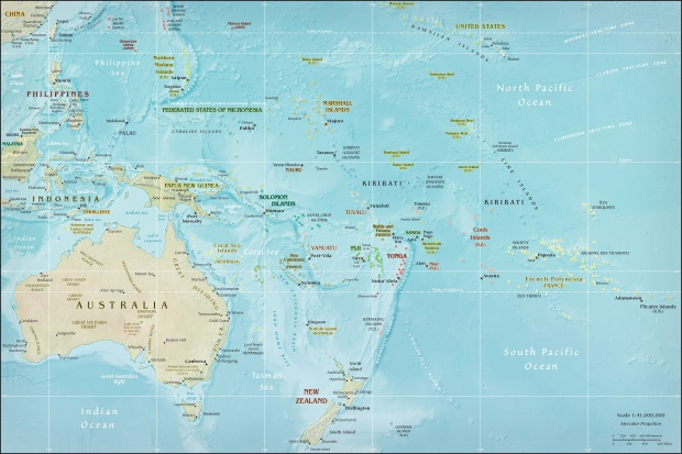 Physical Map of Oceania 2009