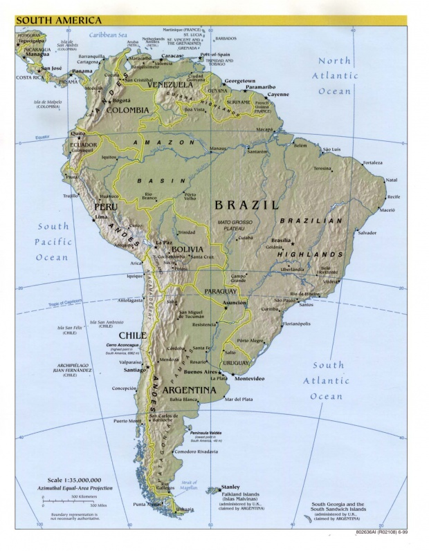South America physical map 1999