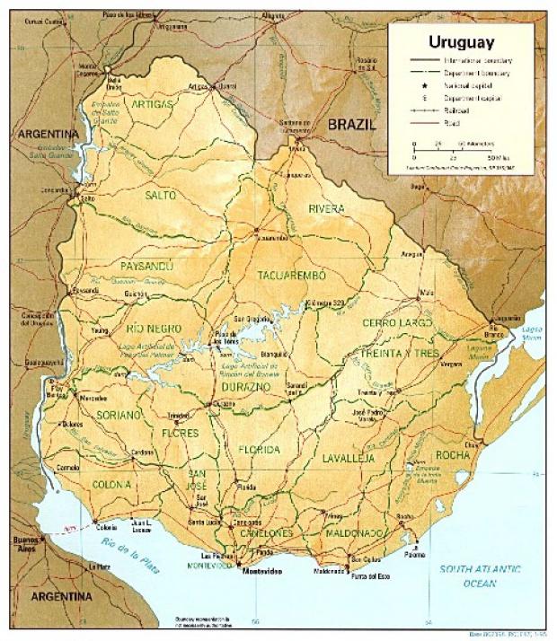 Mapa Físico de Uruguay