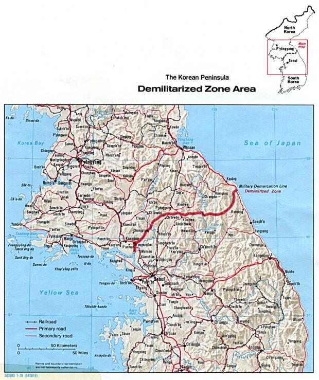 Mapa Físico de la Zona Desmilitarizada, Península de Corea