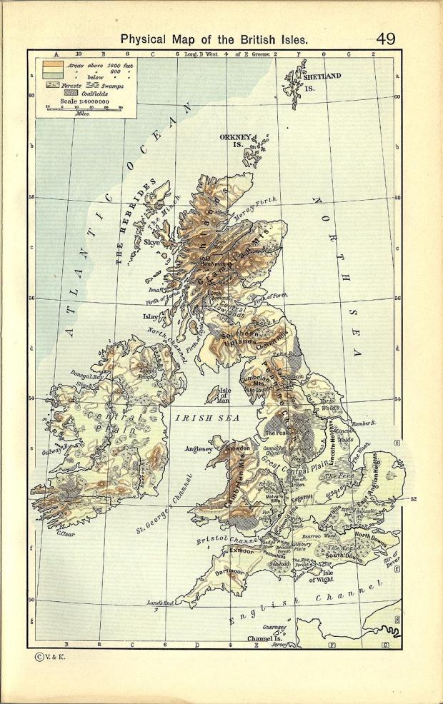 Mapa Físico de las Islas Británicas 1911