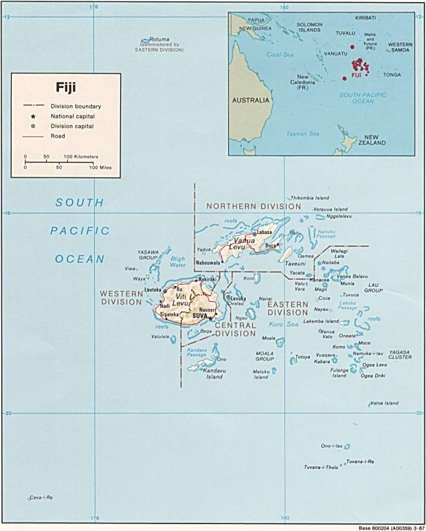 Mapa Físico de las las Islas Fiyi