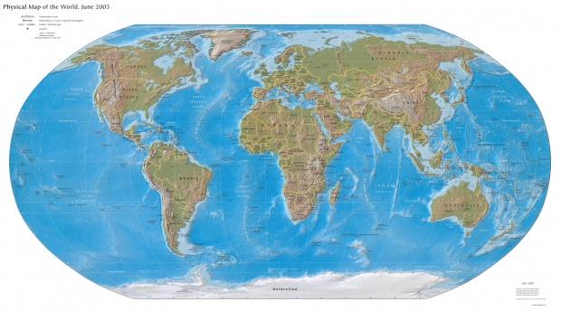 Mapa Físico del Mundo 2003