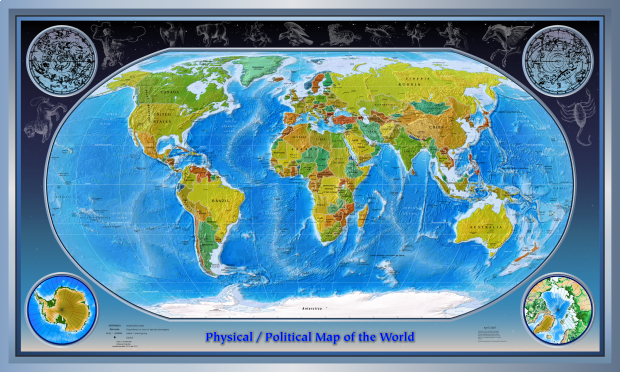 World physical map 2007