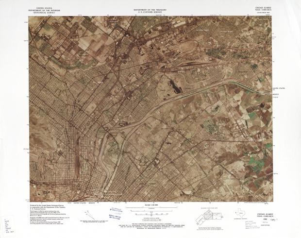 United States-Mexico Border Map, Ciudad Juarez