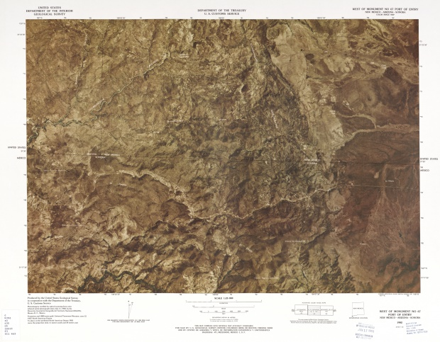 United States-Mexico Border Map, West of Monument No 67 Port of Entry
