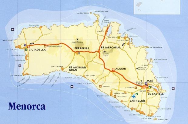Mapa Isla Menorca, España
