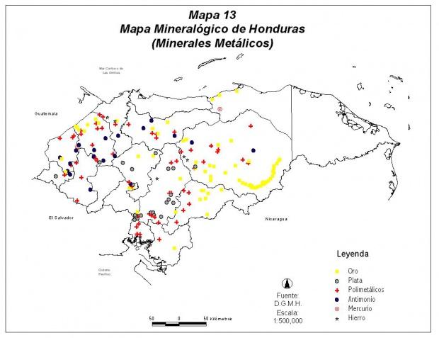 Honduras Mineral Map (Metallic)