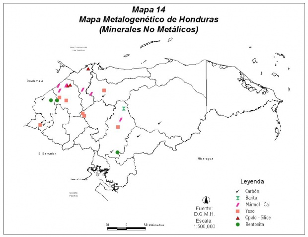 Mapa Mineralógico de Honduras (No Metálico)