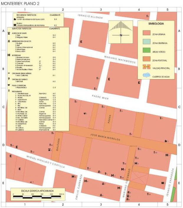 Mapa Monterrey (Centro), Nuevo León, Mexico