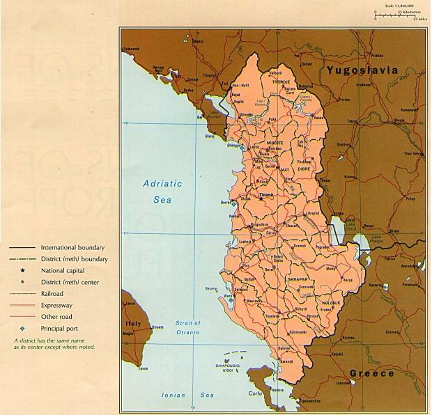 Mapa Politico de Albania