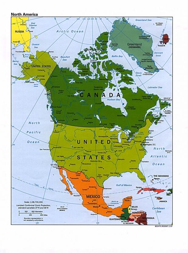 Mapa Político de América del Norte 1997