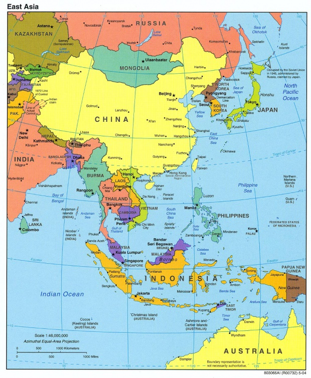 Mapa Politico de Asia del Este 2004