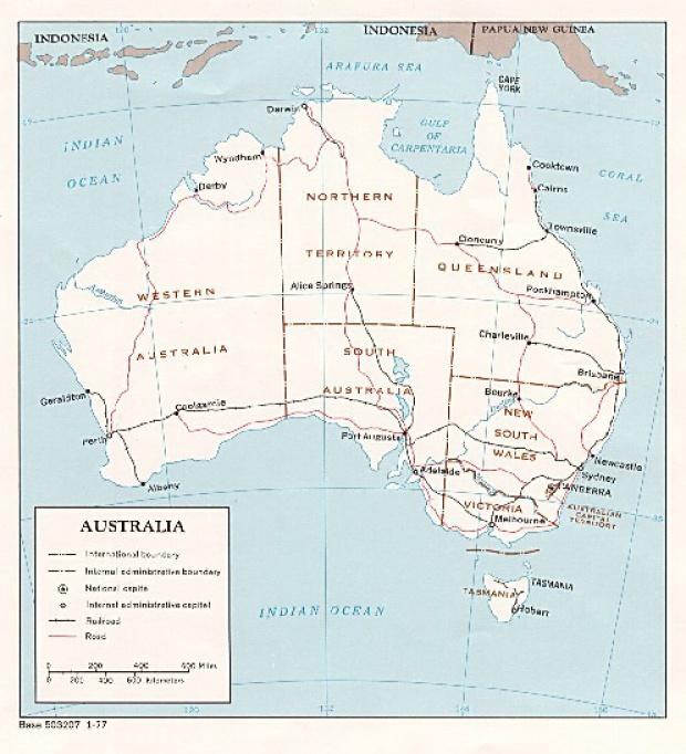 Mapa Politico de Australia