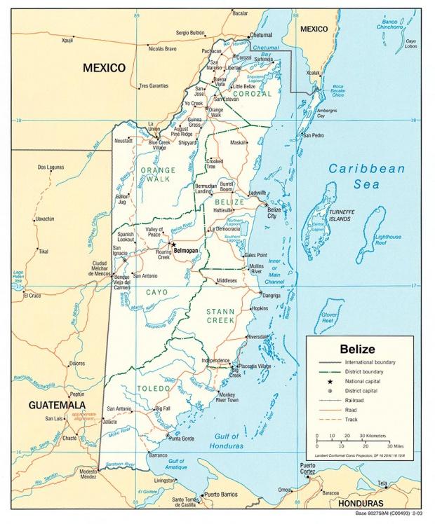 Mapa Político de Belice