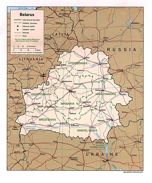 Mapa Politico de Bielorrusia