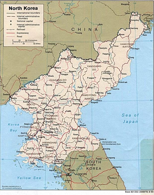 Mapa Politico de Corea del Norte