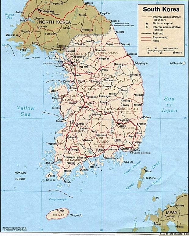 Mapa Politico de Corea del Sur