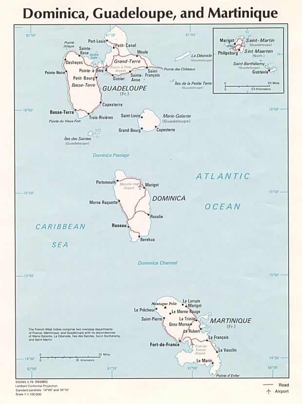 Dominica, Guadeloupe, and Martinique Political Map