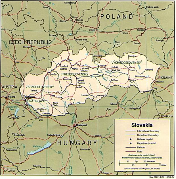 Mapa Politico de Eslovaquia