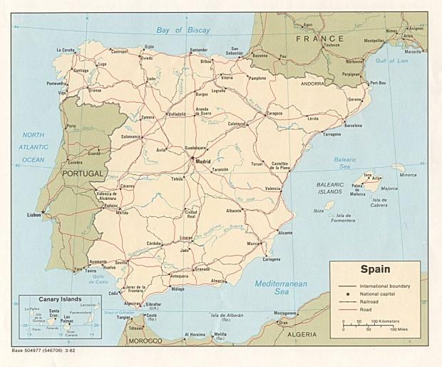 Spain  Political Map 1982