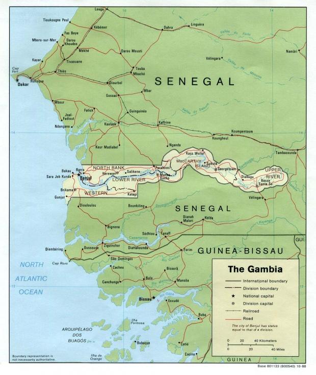 Mapa Politico de Gambia